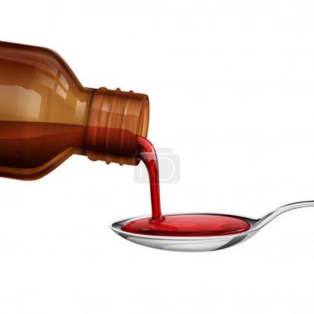 Illustration pour Illustration du flacon versant du sirop de médecine dans une cuillère - image libre de droit