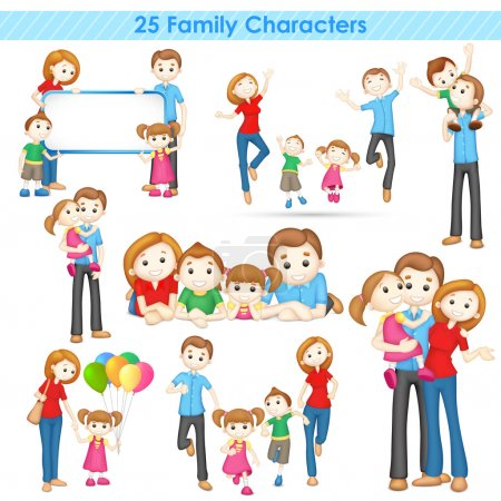Illustration for Illustration of collection of 3d family people - Royalty Free Image