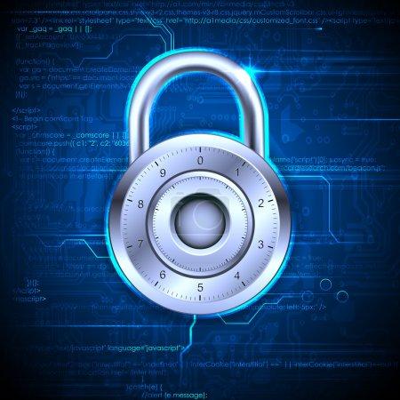 Illustration pour Illustration du concept de sécurité des données avec verrouillage sur fond de codage - image libre de droit