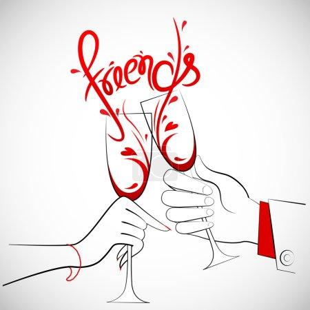 Illustration pour Illustration de couple tenant un verre de vin formant des amis éclaboussure - image libre de droit
