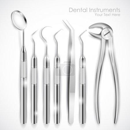 Illustration for Illustration of set of realistic dental equipment - Royalty Free Image