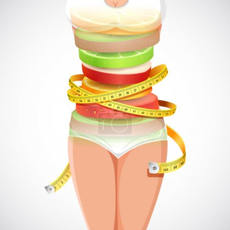 Illustration for Illustration of fruit forming slim lady with measuring tape - Royalty Free Image