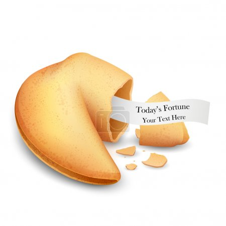 Illustration for Illustration of cracked fortune cookie with place on paper - Royalty Free Image