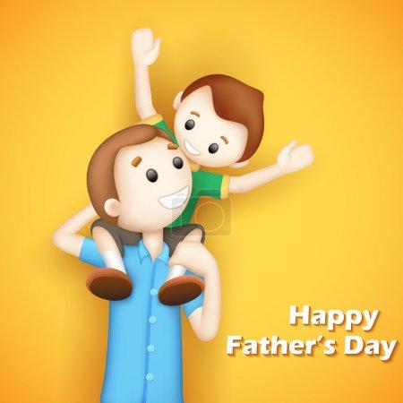 Illustration pour Illustration de père donnant garçon cochon retour balade dans la fête des pères - image libre de droit
