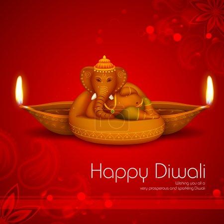 Illustration of Ganesha with diya on Diwali Holida...