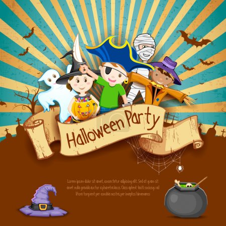 Illustration for Illustration of Kids in different costume for Halloween Party - Royalty Free Image