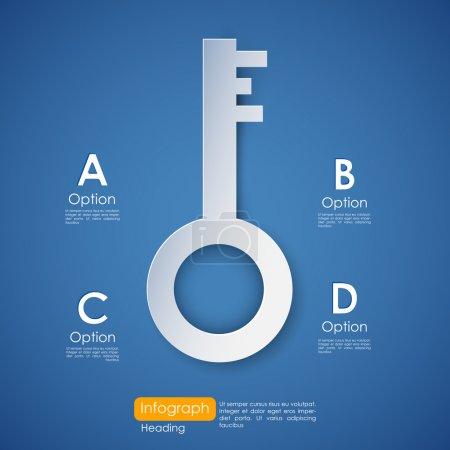 Illustration pour Illustration de la clé du succès infographie - image libre de droit