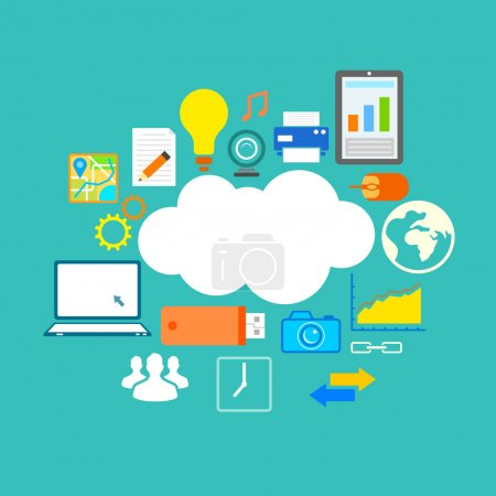 Illustration for Illustration of flat design of technology showing icon in cloud computing concept - Royalty Free Image