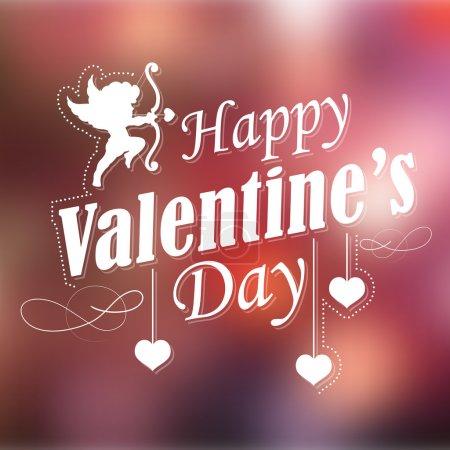 Illustration pour Illustration de fond de typographie rétro heureuse Saint-Valentin - image libre de droit