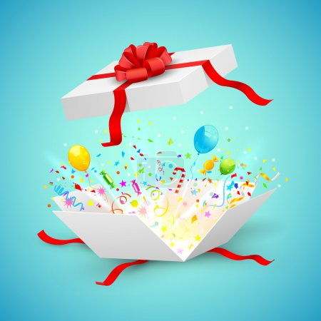 Illustration for Illustration of confetti and ballons coming out of surprise gift - Royalty Free Image