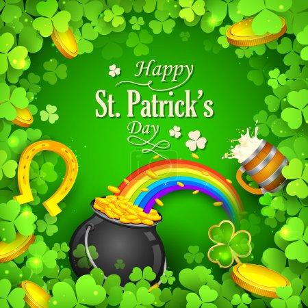 Illustration pour Illustration du fond de la Saint Patricks Day avec feuille de trèfle - image libre de droit