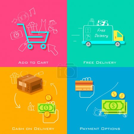 Illustration for Illustration of e commerce online shopping concept in flat style - Royalty Free Image