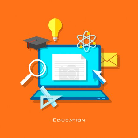 Illustration for Illustration of e learning concept in flat style - Royalty Free Image