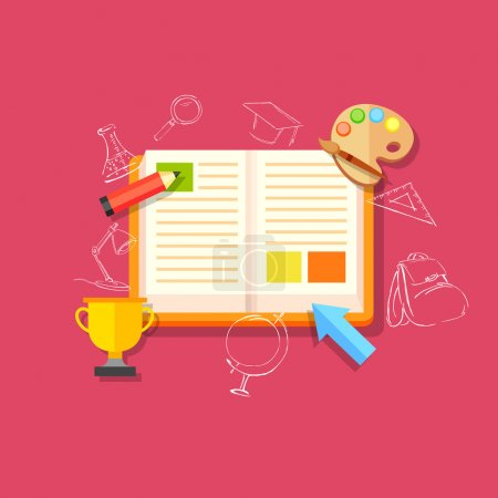 Illustration for Illustration of flat style education concept - Royalty Free Image