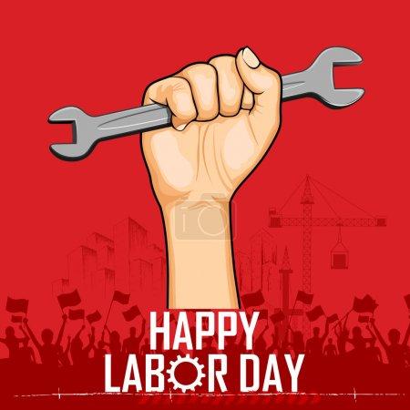 Illustration pour Illustration du concept de la fête du travail avec clé à molette homme - image libre de droit