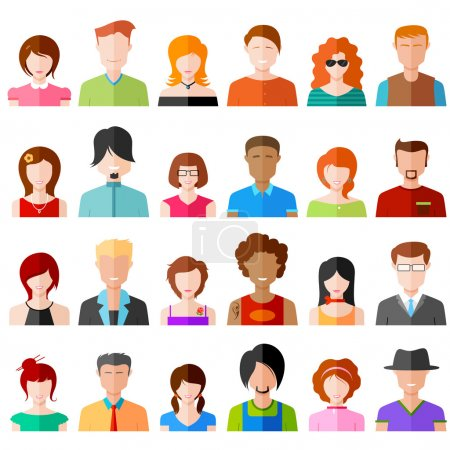 Illustration for Illustration of colorful flat design people icon - Royalty Free Image