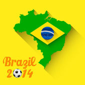 Illustration of soccer ball with brazil map in FIFA World Cup background
