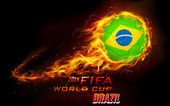 Illustration of fiery soccer ball in FIFA World Cup background
