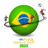 Illustration of player kicking soccer ball in FIFA World Cup background