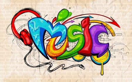 Illustration pour Illustration de musique fond graffiti style - image libre de droit