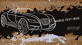 Abstraktní obrysy závodní auto na pozadí grunge