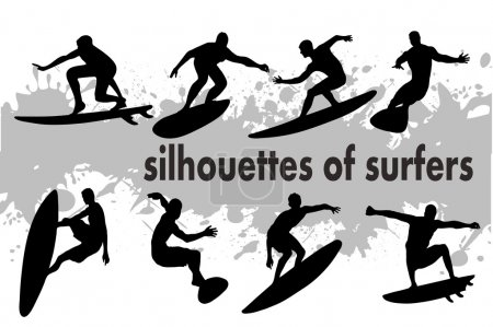 Illustration for On the image the silhouette of surfers is presented - Royalty Free Image