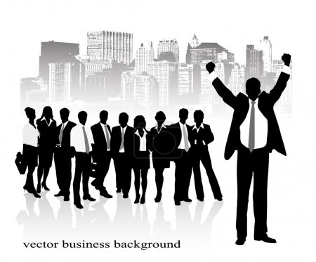 Group of businessmen against the city