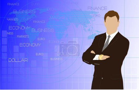 Man on abstract business a background