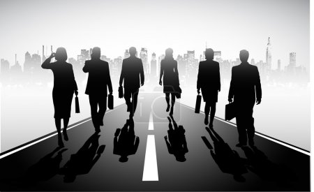 Businessmen walking on road