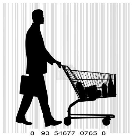Illustration pour Sur l'image, la personne avec un panier d'un supermarché est présenté - image libre de droit