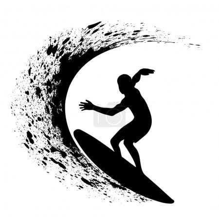 Illustration pour Sur l'image, la silhouette du surfeur sur une vague est présentée - image libre de droit