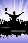 On the image the silhouette of the champion in crowd of people is presented