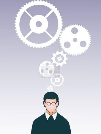 Ilustración de Persona bajo engranajes - Imagen libre de derechos