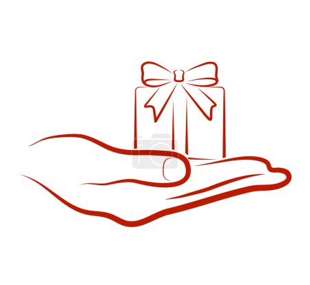 Illustration for Hand brings a gift - Royalty Free Image