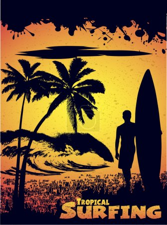 Illustration for Silhouette of a surfer on a tropical beach in grunge style - Royalty Free Image