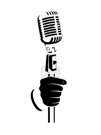 Hand with a microphone on a white background
