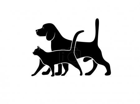 Illustration pour Silhouette d'animaux de compagnie, illustration vectorielle - image libre de droit