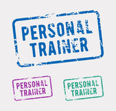 Three rubber stamps with the text personal trainer