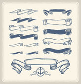 Nautical ribbons over white background.