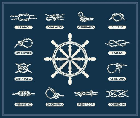 Nautical rope knots set