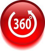 Vektor piros ikon, hogy azt mondja, 360 fokban