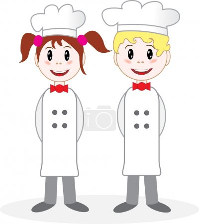 Boy and girl chefs