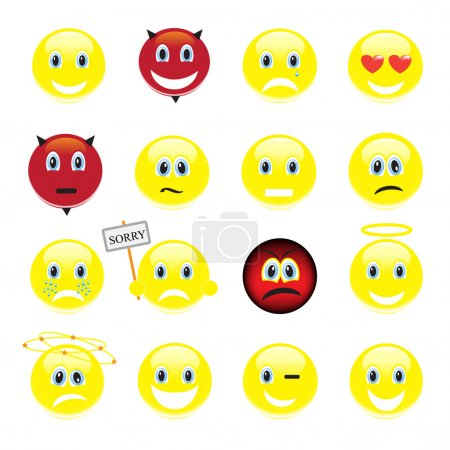 Vector set of smiley faces