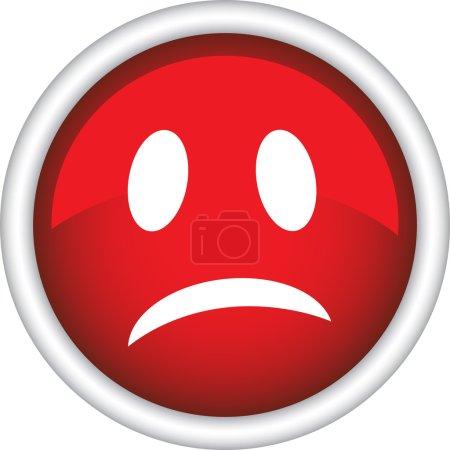 Illustration for Sad emoticon red icon - Royalty Free Image