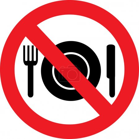 Illustration for No Food red Sign - Royalty Free Image