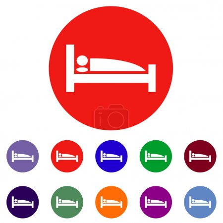 Illustration for Man sleeping in bed at Motel - Vector icons isolated - Royalty Free Image