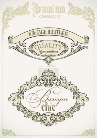 Photo pour Ensemble d'étiquettes de style baroque. Illustration vectorielle modifiable . - image libre de droit
