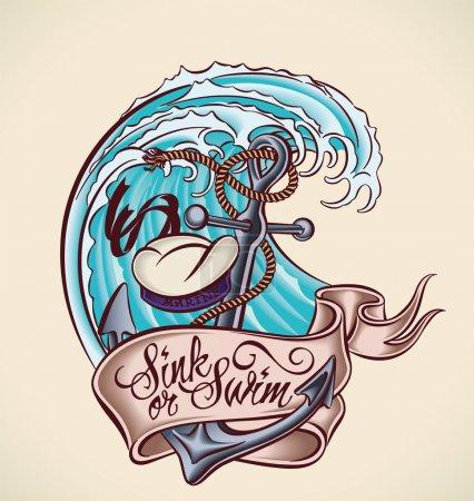 Illustration pour Design de tatouage vintage avec ancre, chapeau de marin, bannière et vague. Illustration vectorielle modifiable . - image libre de droit