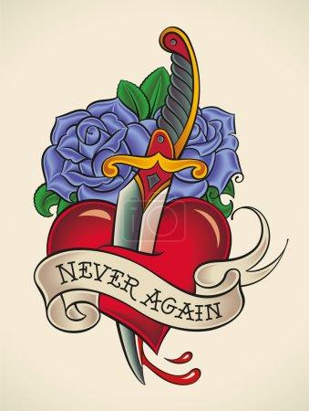Old-school tattoo - Dagger through Heart