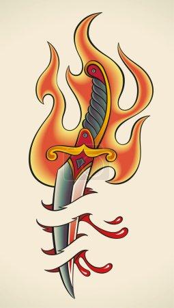 Old-school tattoo - Flaming Dagger